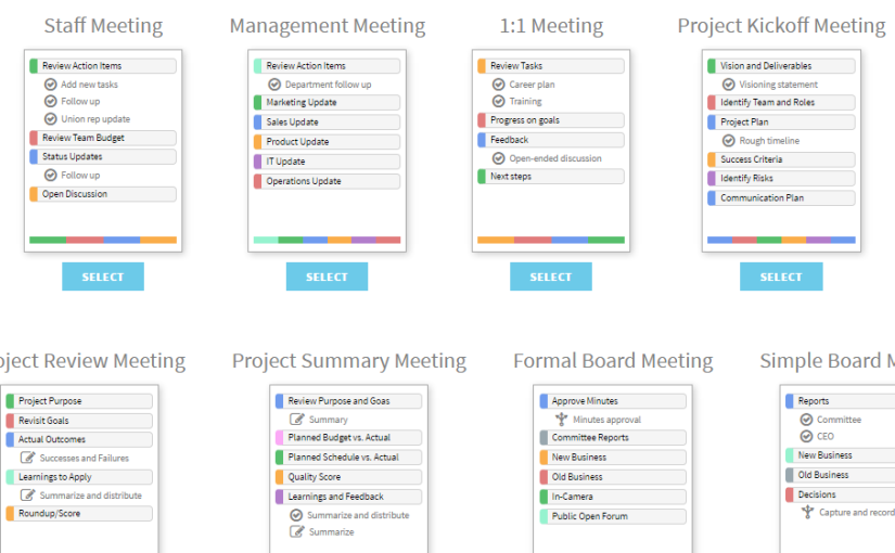 Jumpstart your meetings with agenda templates